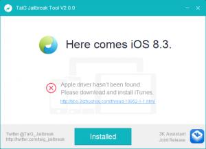3.TaiG iTunesのバージョン違いでNGのメッセージ